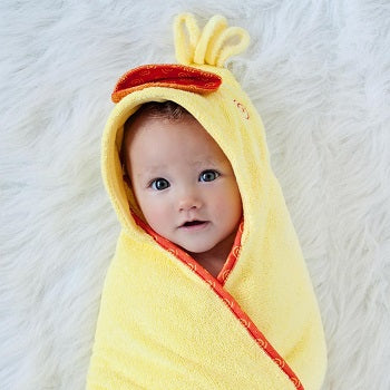 Zoochini Baby Plush Terry Hooded Towel - Puddles the Duck