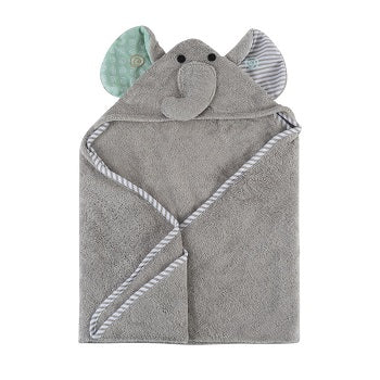 Zoochini Baby Plush Terry Hooded Towel - Elle the Elephant - The Soap Opera Company
