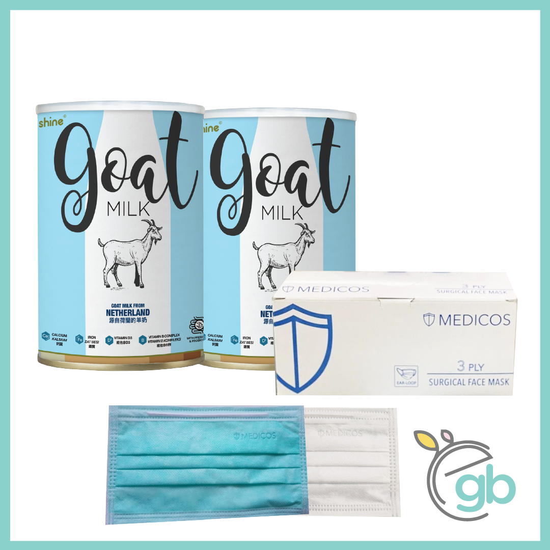 Combo 3: Medicos Surgical Face Mask (White Box) and Shine Goat Milk x2