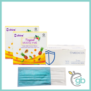 Combo 5: Medicos Surgical Face Mask (White Box) and Shine Tropical Multizyme x2