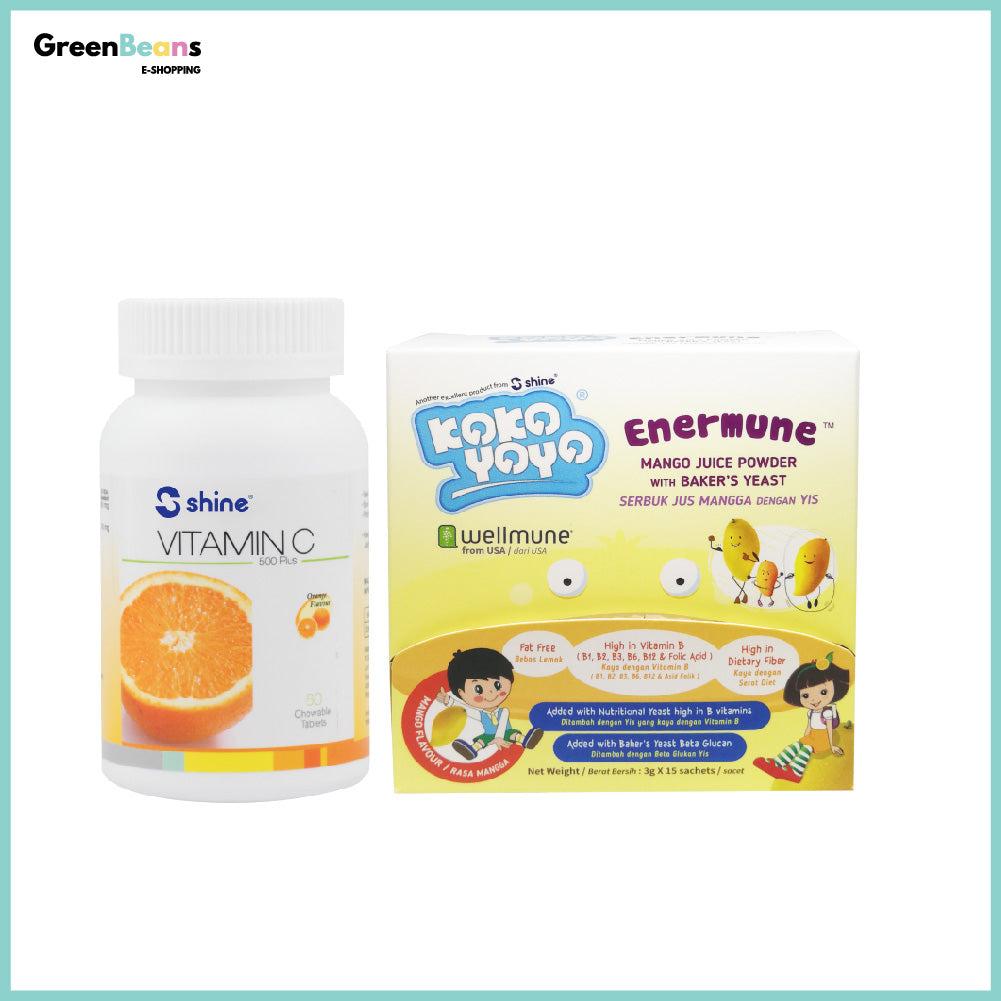 1+1 Combo: Shine Vitamin C-500 Plus Chewable Tablet (Orange Flavour) + Kokoyoyo Enermune