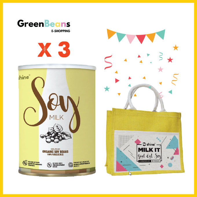 Shine Soy Milk x 3 (+FREE Jute Bag)