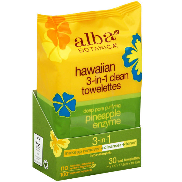 Alba Botanica Hawaiian 3 in 1 Clean Towelettes   Pineapple Enzyme