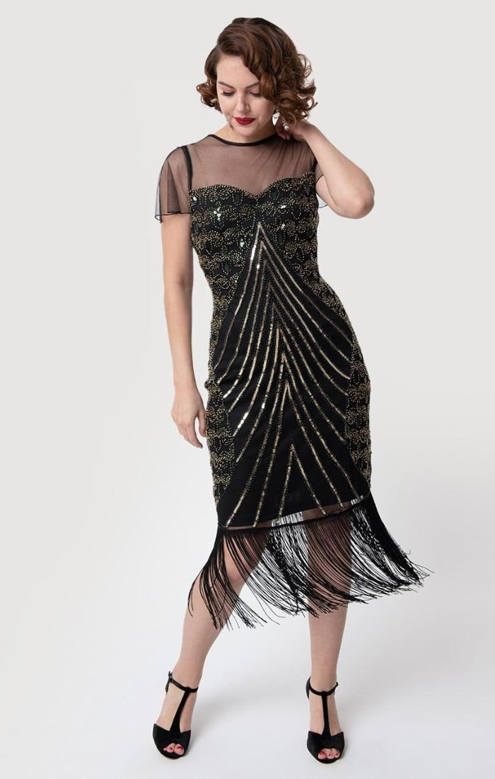 d089b4afd8f Gorgeous VIntage Inspired Black Cocktail Dress with Beads and Fringe-Rolande  - Blanche s Place ...