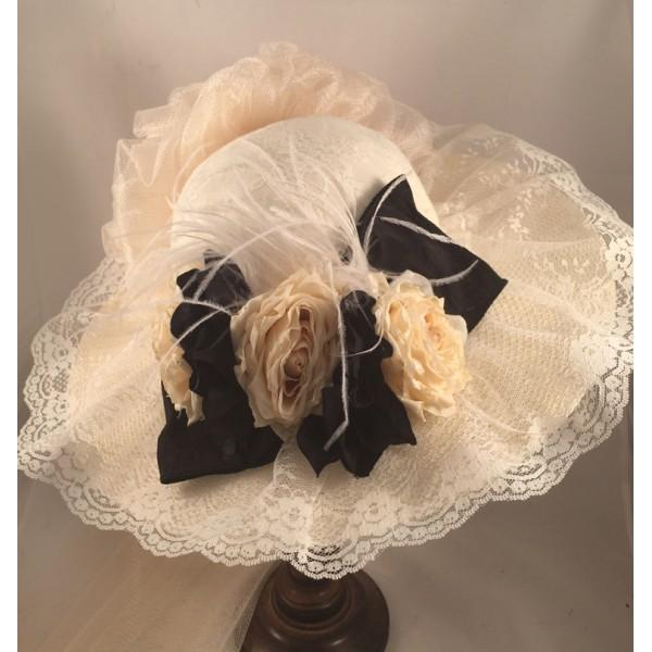 Ladies Ivory Victorian Hat with Black Accents-152 - Blanche's Place
