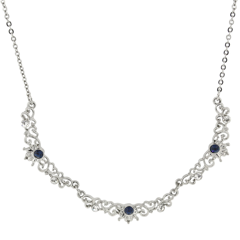 SILVER-TONE BLUE AND CRYSTAL BELLE EPOCH FILIGREE SCALLOP COLLAR NECKLACE 16 ADJ-17493 - Blanche's Place