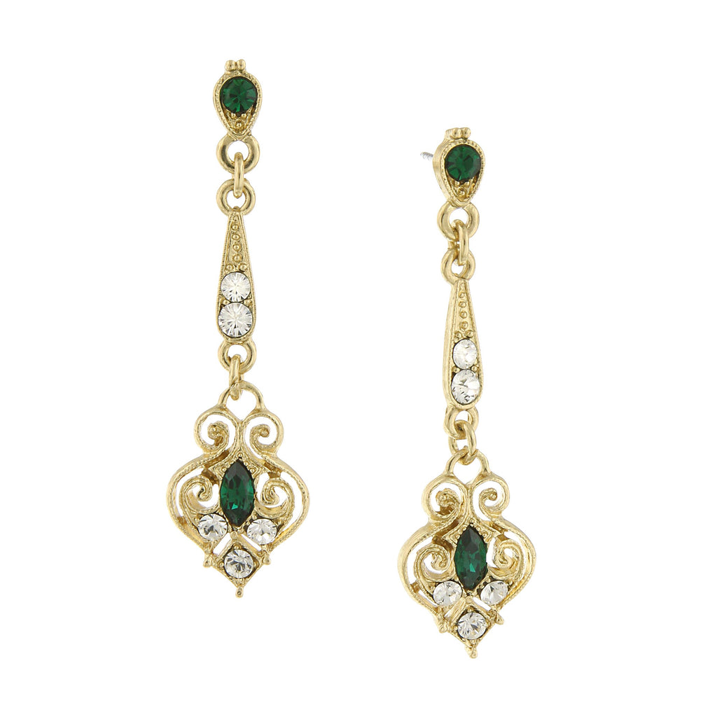GOLD-TONE EDWARDIAN WITH EMERALD GREEN COLOR NAVETTE STONES LINEAR DROP EARRINGS- 17503