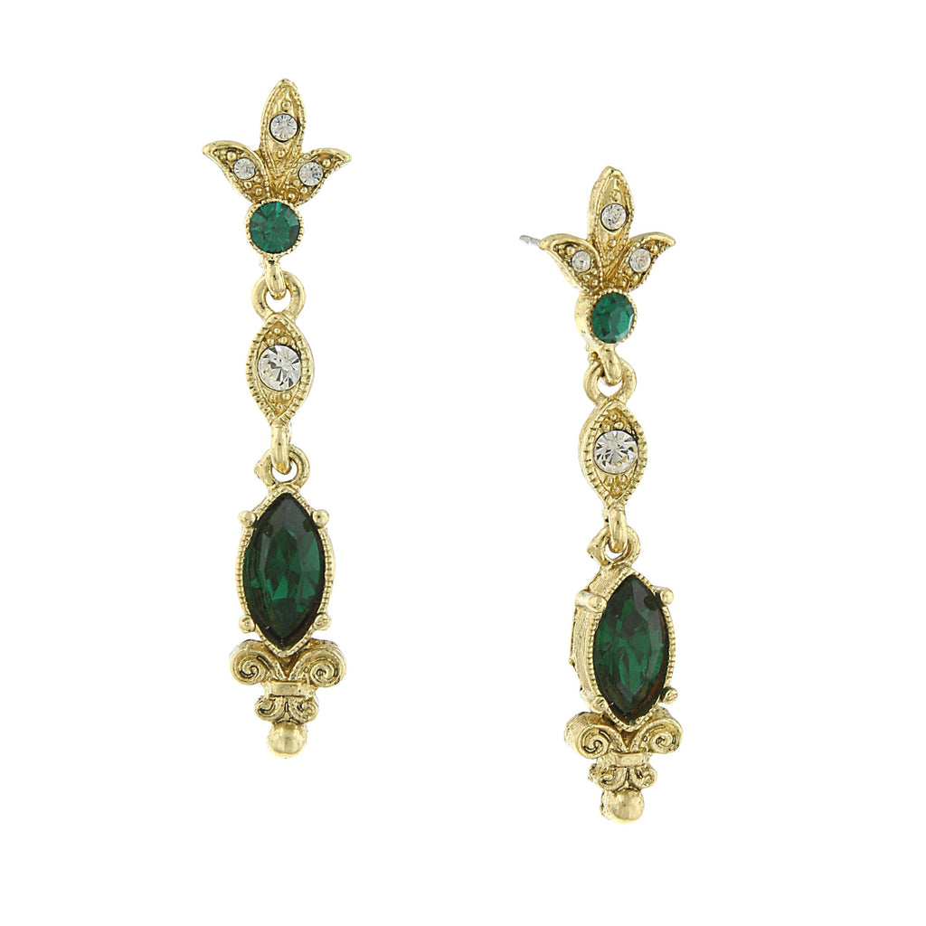 GOLD-TONE VITNAGE INSPIRED BELLE EPOCH  EMERALD COLOR STONE DROP EARRINGS-17504 - Blanche's Place