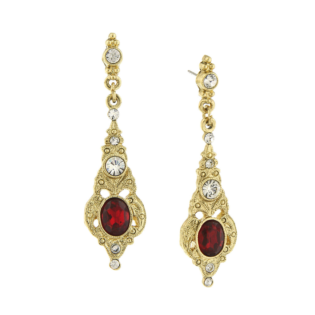 GOLD-TONE BELLE EPOCH RED STONE AND CRYSTAL DROP EARRINGS - 17506