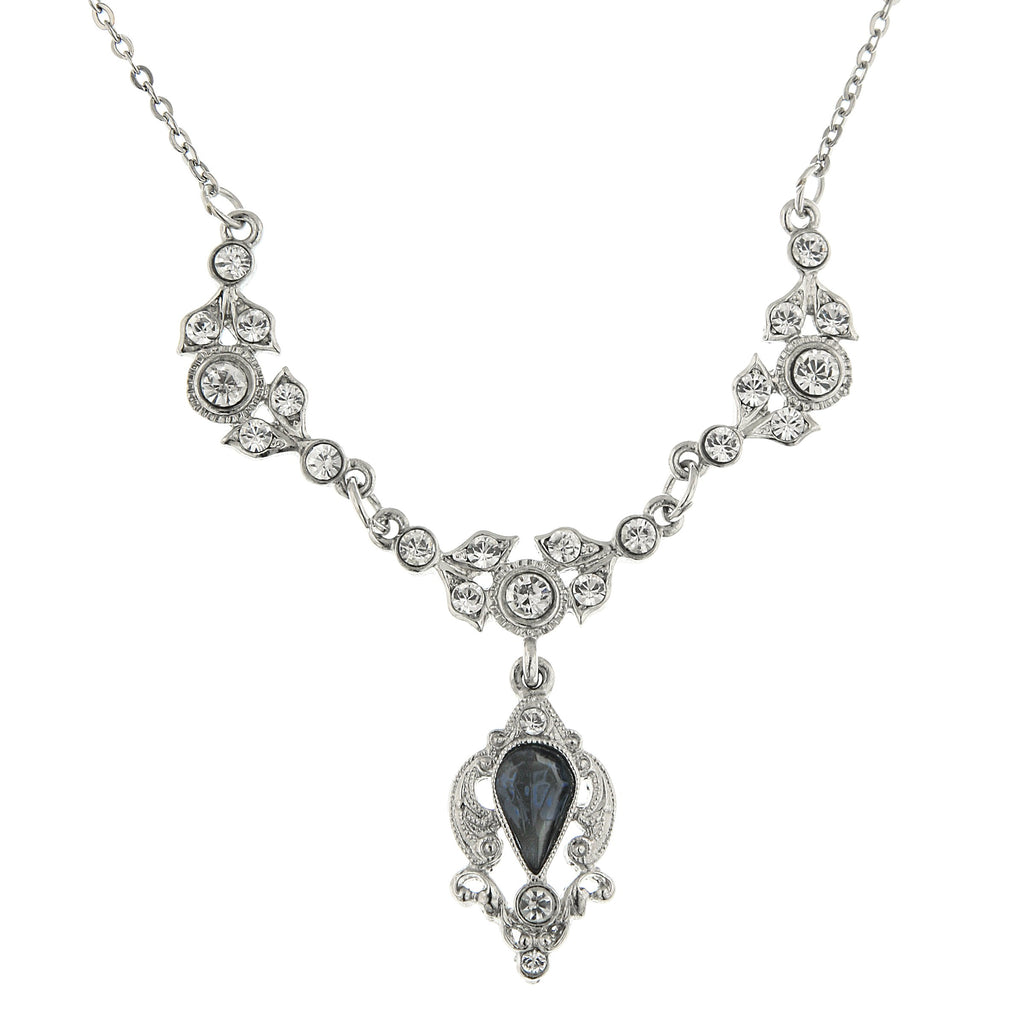 SILVER-TONE BLUE COLOR AND CRYSTAL BELLE EPOCH DROP NECKLACE 16 ADJ. 17507 - Blanche's Place