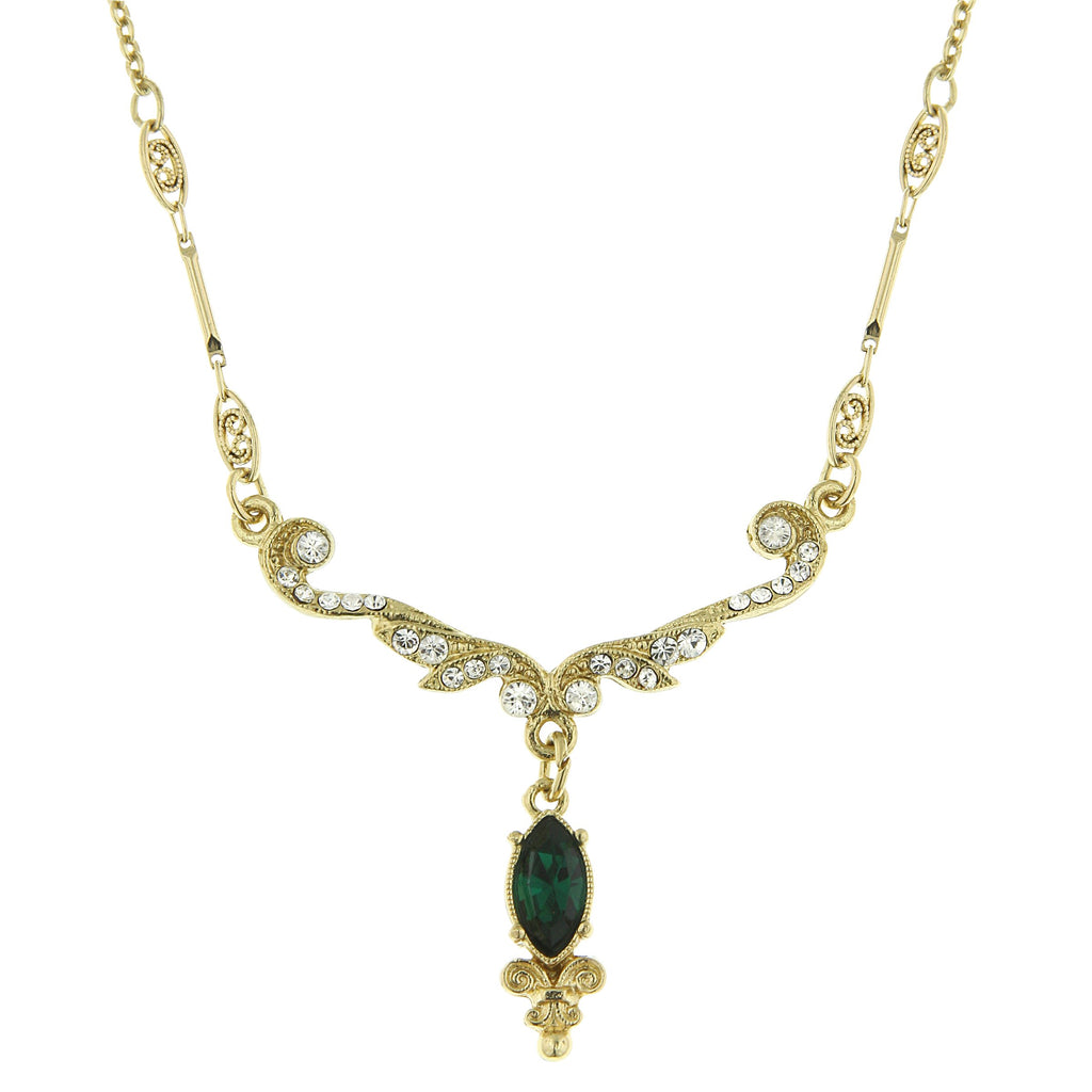 Dazzling Vintage Inspired Emerald Crystal Necklace-17509 - Blanche's Place