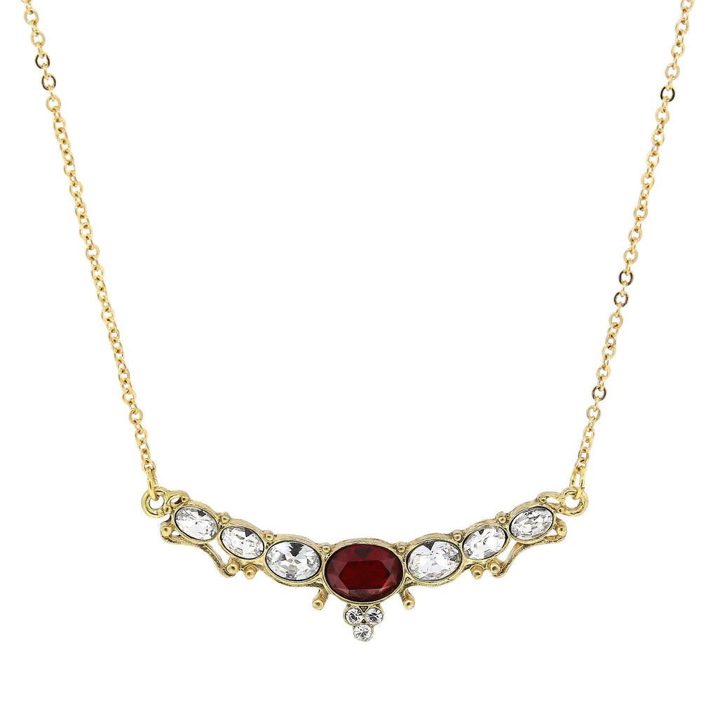 "Elegant Downton Abbey Vintage Inspired Gold Collar Necklace with ""Ruby"" Center Stone - 17512 - Blanche's Place"
