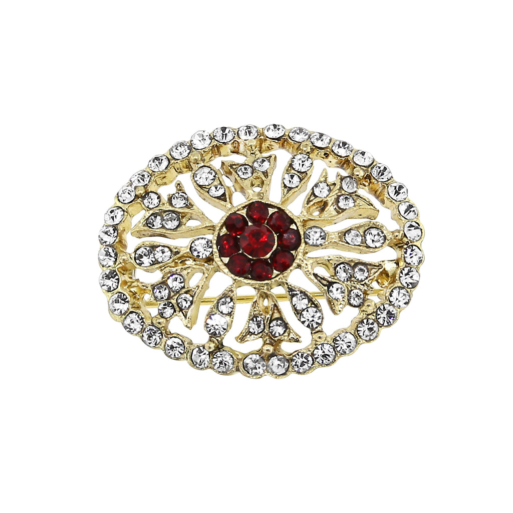 "Gold Tone Crystal Oval Pin with ""Ruby"" Stone-17514 - Blanche's Place"