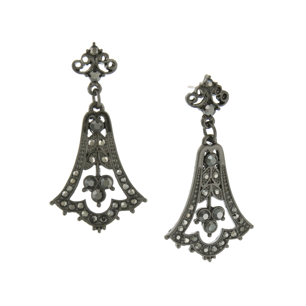 Elegant Black Toned Belle Epoch Hematite  Earrings from Downton Abbey Collection-17515 - Blanche's Place