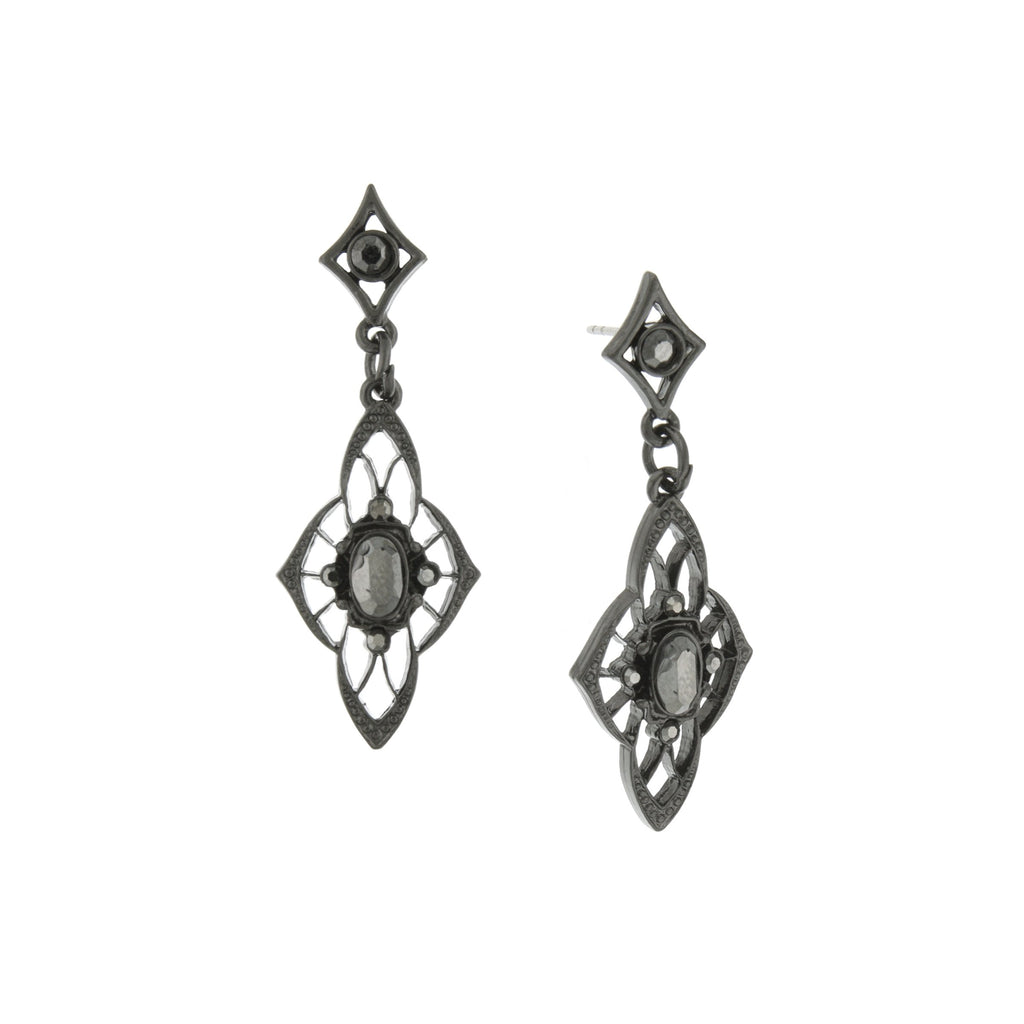 BLACK-TONE EDWARDIAN FILIGREE WITH HEMATITE COLOR NAVETTE STONE DROP EARRINGS-17519