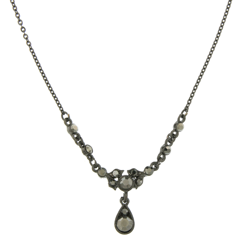 Downton Abbey Vintage Inspired Black Hematite Mourning Necklace-17520 - Blanche's Place
