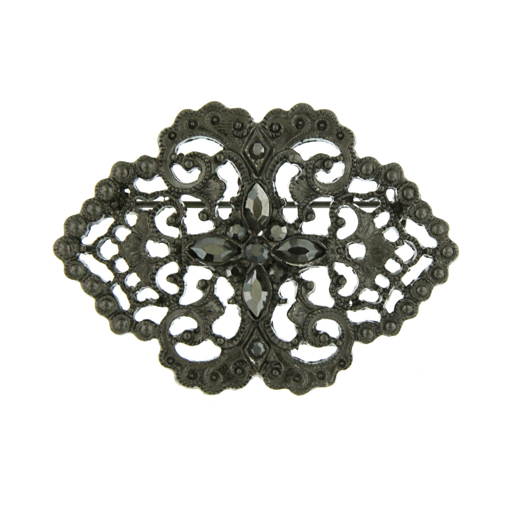 Victorian Downton Abbey Vintage Inspired Filigree Pin with Hematite Stones-17524 - Blanche's Place