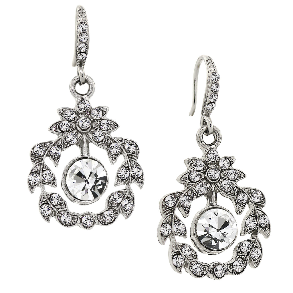 SILVER-TONE BELLE EPOCH WREATH WITH PAVE CRYSTAL ACCENTS DANGLE EARRINGS -17528 - Blanche's Place