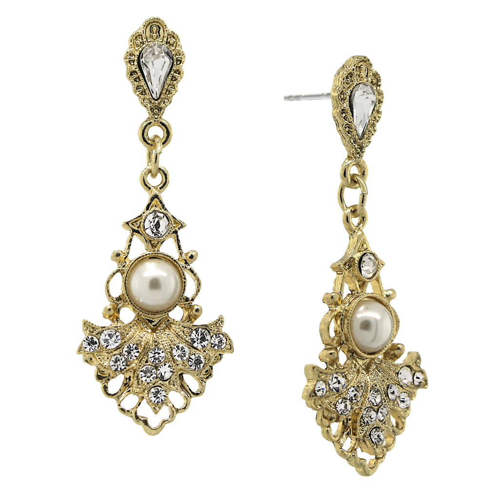 GOLD-TONE CRYSTAL BELLE EPOCH FAN WITH SIMULATED PEARL CENTER DROP EARRINGS-17537 - Blanche's Place