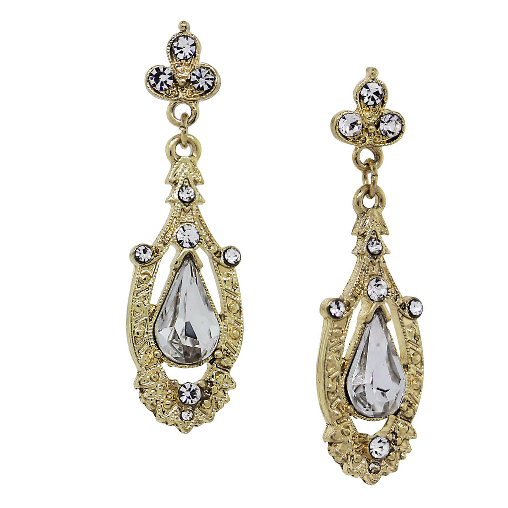 GOLD-TONE CRYSTAL EDWARDIAN PEAR SHAPED CENTER DROP EARRINGS-17538 - Blanche's Place