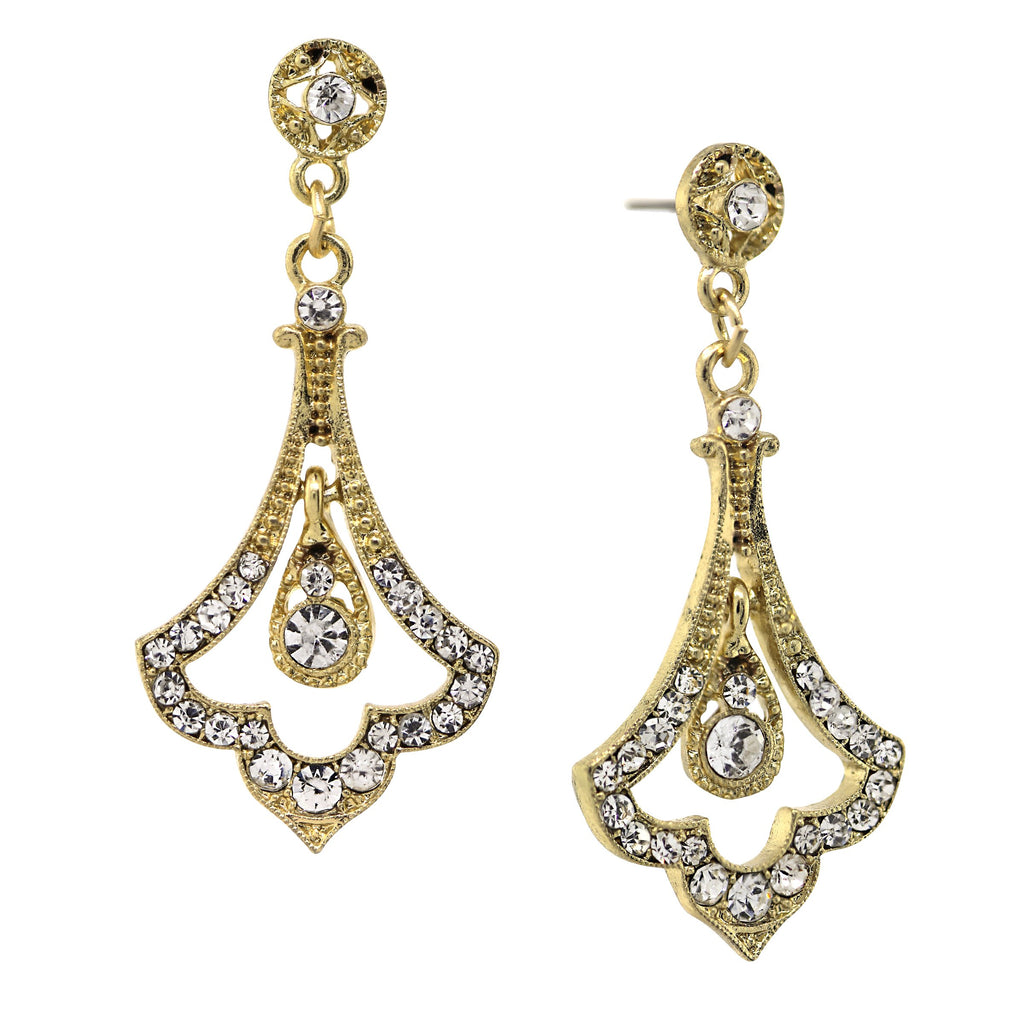 GOLD-TONE EDWARDIAN PAVE CRYSTAL FLEUR WITH CRYSTAL ACCENT TOP DROP EARRINGS-17539 - Blanche's Place