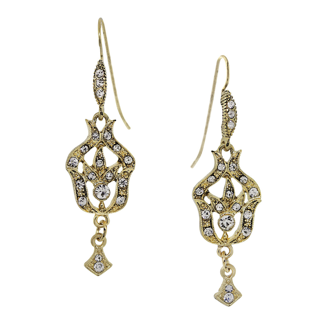 GOLD-TONE BELLE EPOCH PAVE FLEUR WITH CRYSTAL ACCENTS DROP EARRINGS-17540 - Blanche's Place