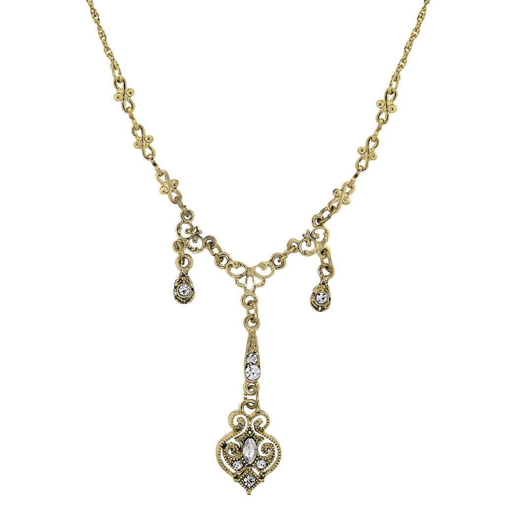 GOLD-TONE EDWARDIAN TRIPLE DROP WITH ELABORATE CENTER Y-NECKLACE 16 ADJ. - 17541 - Blanche's Place
