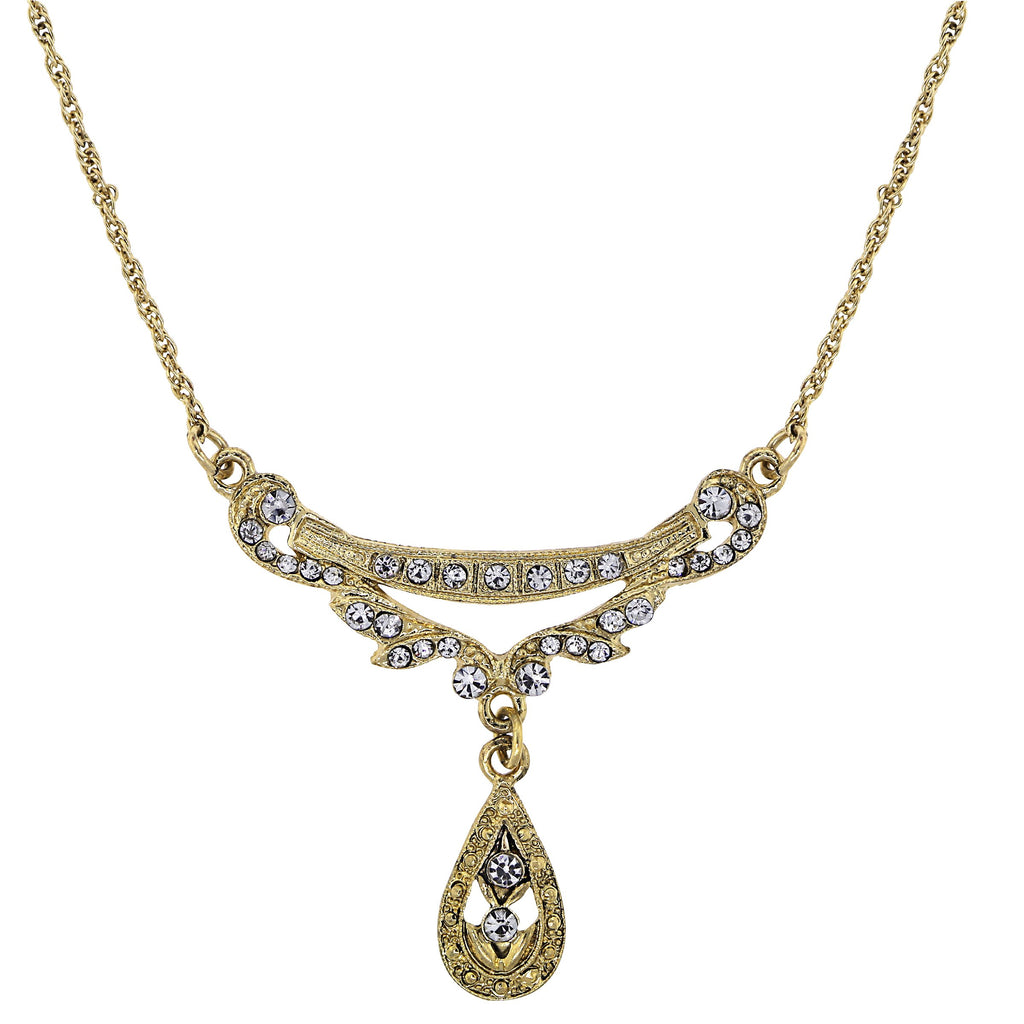 GOLD-TONE CRYSTAL EDWARDIAN SWAG SHAPED COLLAR NECKLACE 16 ADJ. - 17542 - Blanche's Place