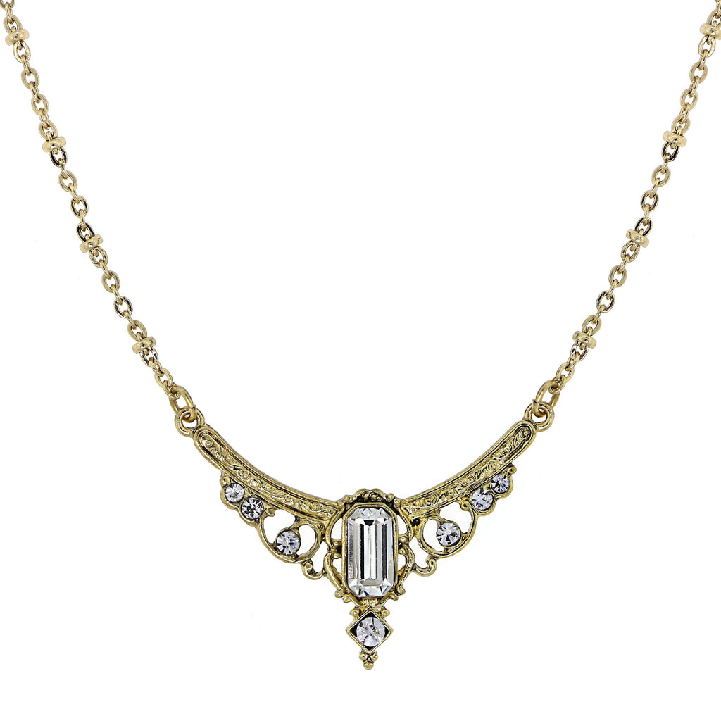 GOLD-TONE EDWARDIAN WITH CRYSTAL BAGUETTE CENTER COLLAR NECKLACE 16 ADJ. - 17543 - Blanche's Place