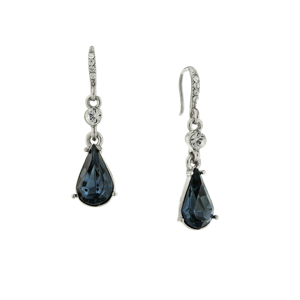 SILVER-TONE BLUE CRYSTAL PEARSHAPE DROP EARRINGS-17548 - Blanche's Place
