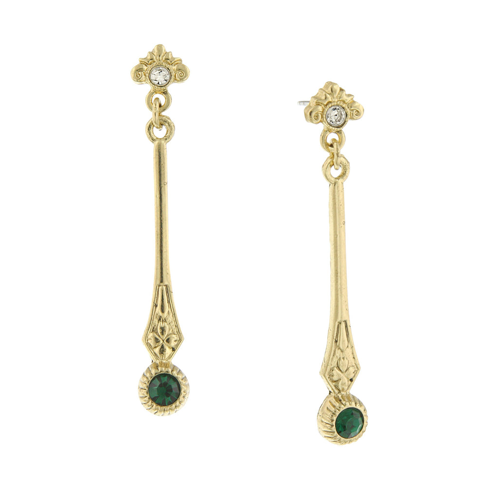 GOLD-TONE EMERALD COLOR CRYSTAL EARRINGS WITH CRYSTAL POST TOP LINEAR DROP-17549 - Blanche's Place