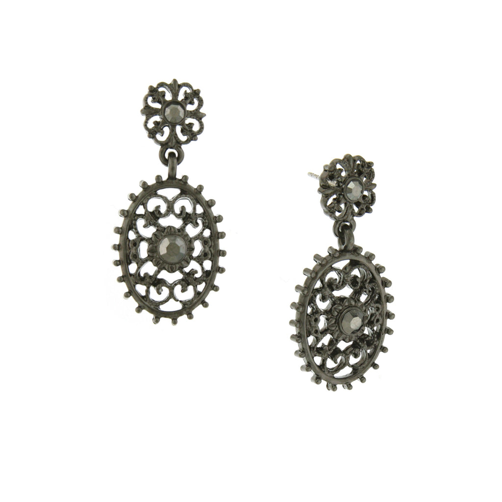 BLACK-TONE FILIGREE OVAL WITH AESTHETIC BEADED EDGE DETAIL DANGLE EARRINGS-17574