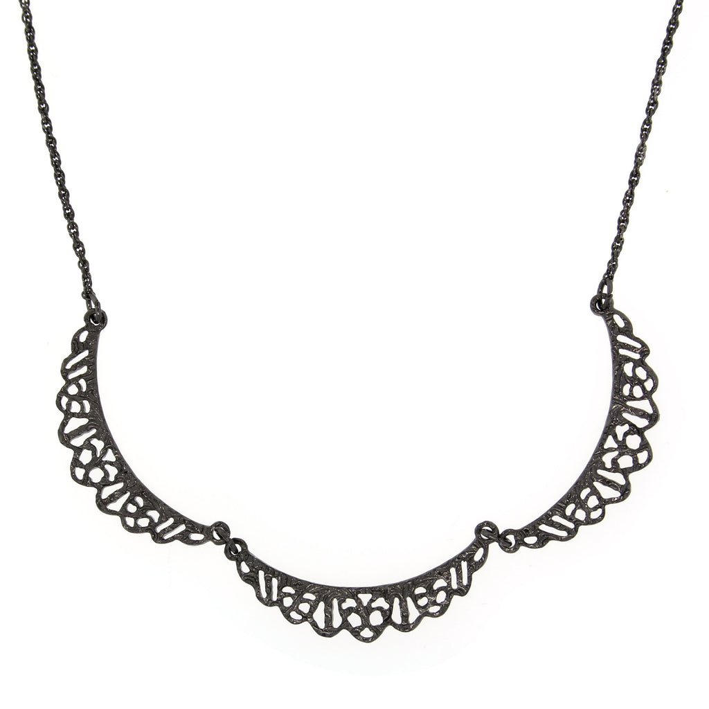 EDWARDIAN INSPIRED BELLE EPOCH HEMATITE COLLAR NECKLACE DOWNTON ABBEY - 17578 - Blanche's Place