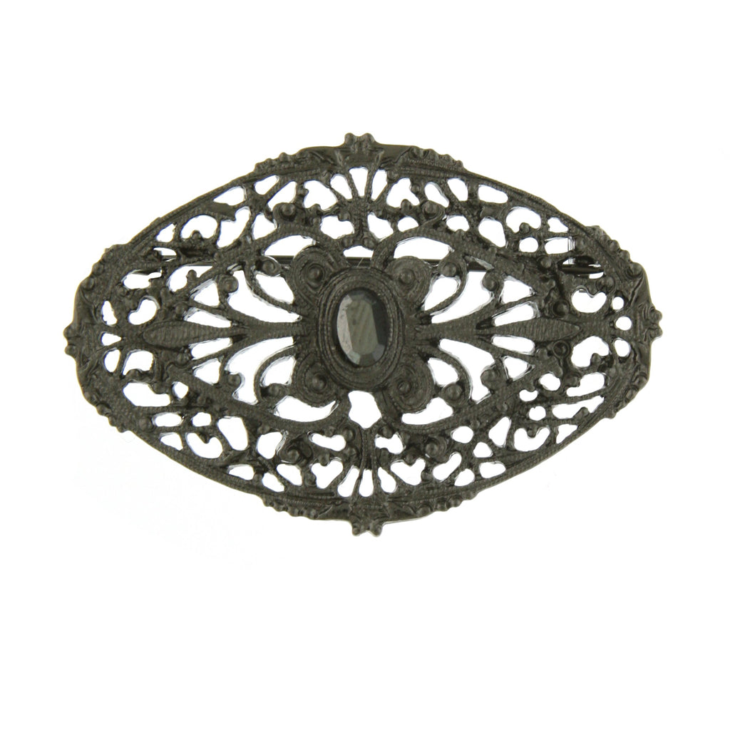 Vintage Inspired Black Hematite Filigree Pin-17583