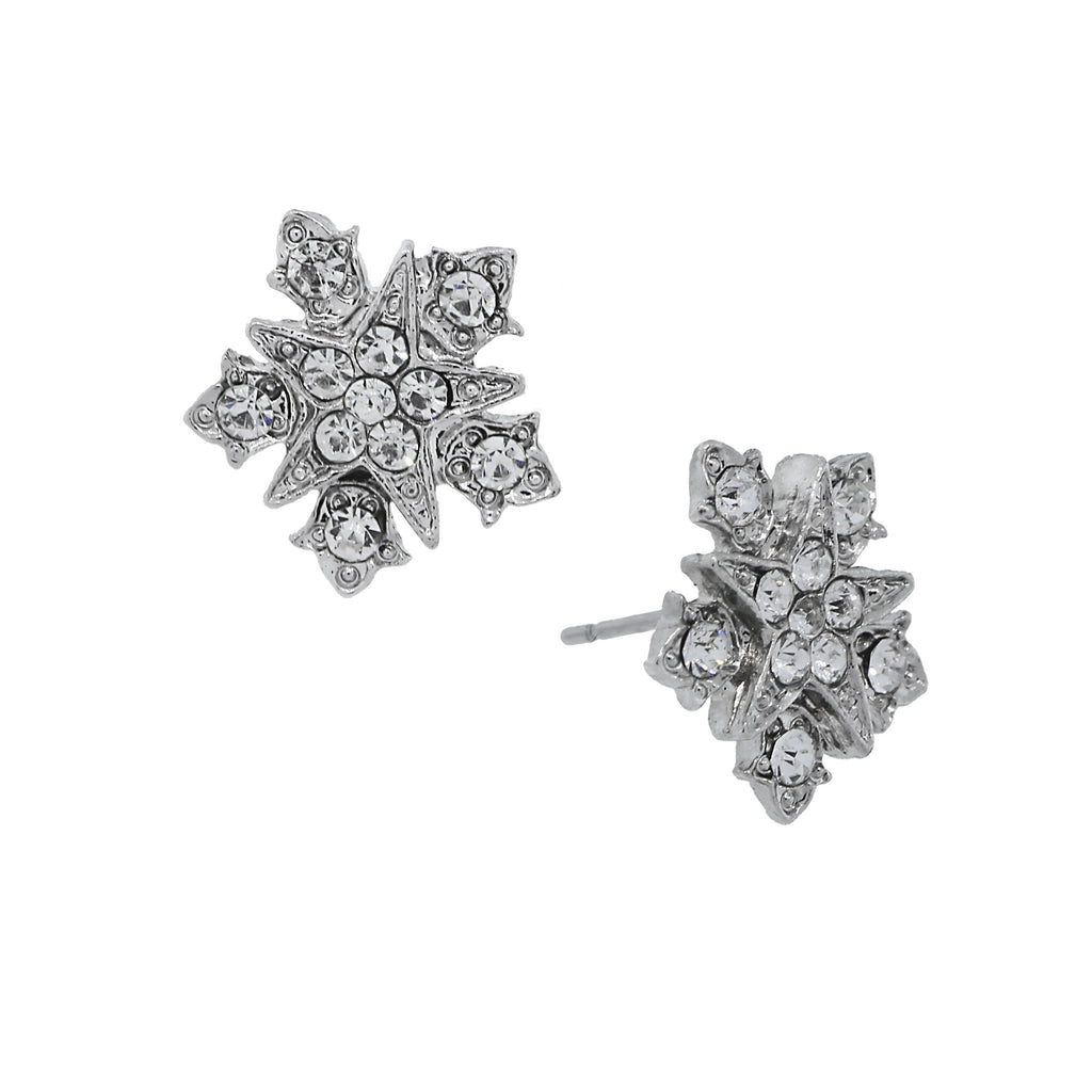 SILVER-TONE BELLE EPOCH STARBURST BUTTON WITH CRYSTAL ACCENTS POST EARRINGS-17587