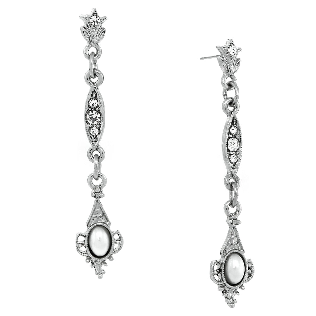 SILVER-TONE BELLE EPOCH SIMULATED PEARL AND CRYSTAL FILIGREE LINEAR EARRINGS-17590 - Blanche's Place