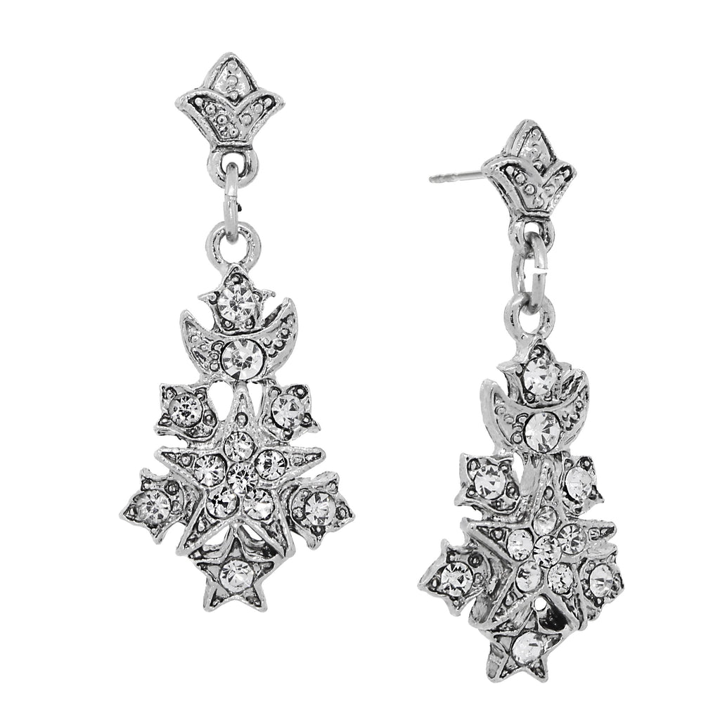 SILVER-TONE BELLE EPOCH STARBURST PAVE CRYSTAL ACCENTS DROP EARRINGS-17592