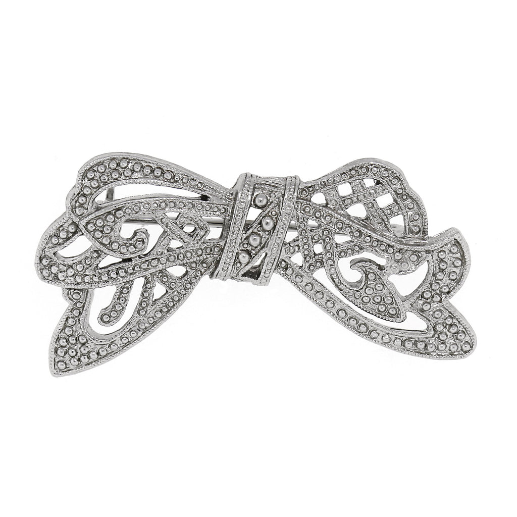 Vintage Inspired Crystal Edwardian Bow Bar Pin-17597