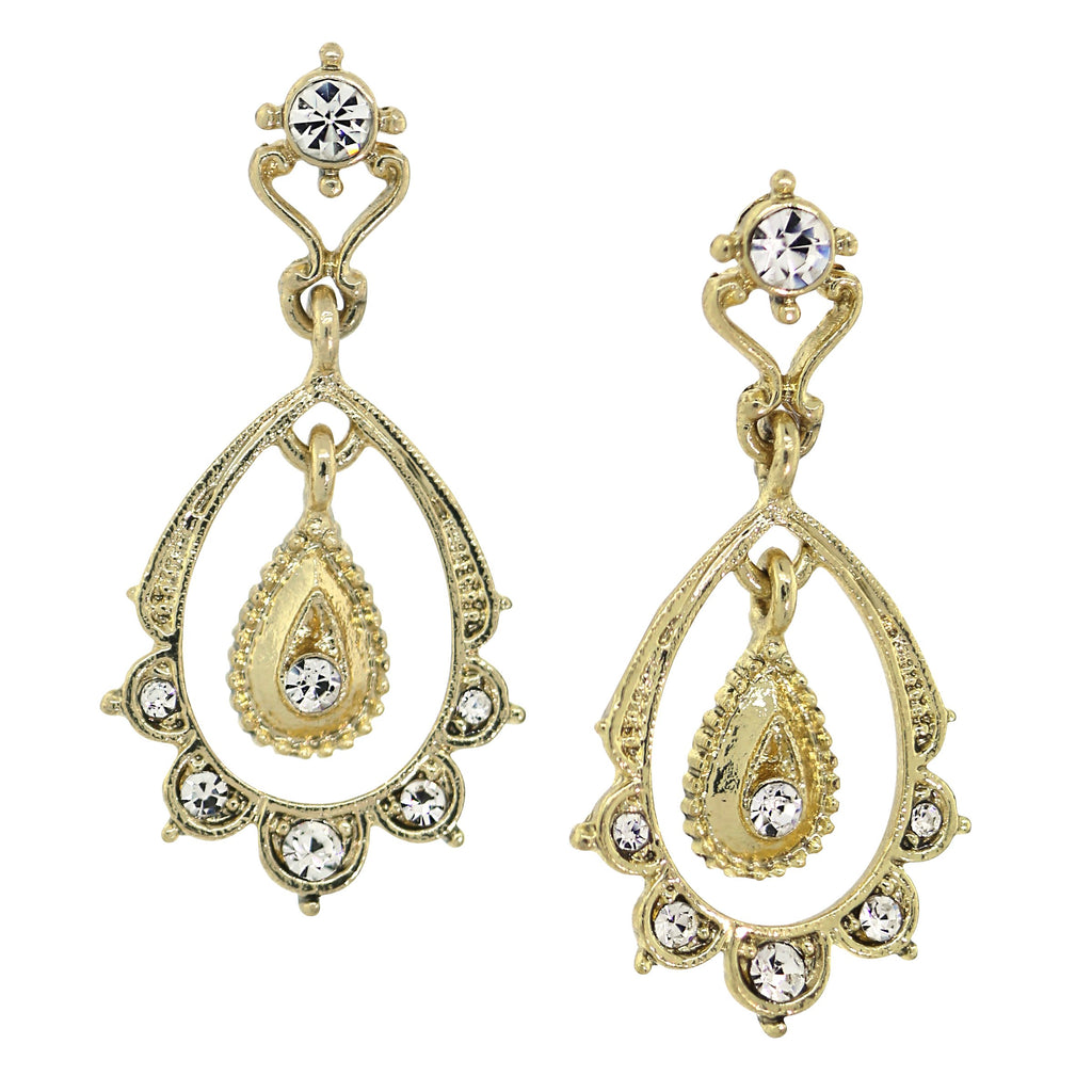 GOLD-TONE CRYSTAL BELLE EPOCH SCALLOP WITH DANGLE AND POST TOP DROP EARRINGS - Blanche's Place