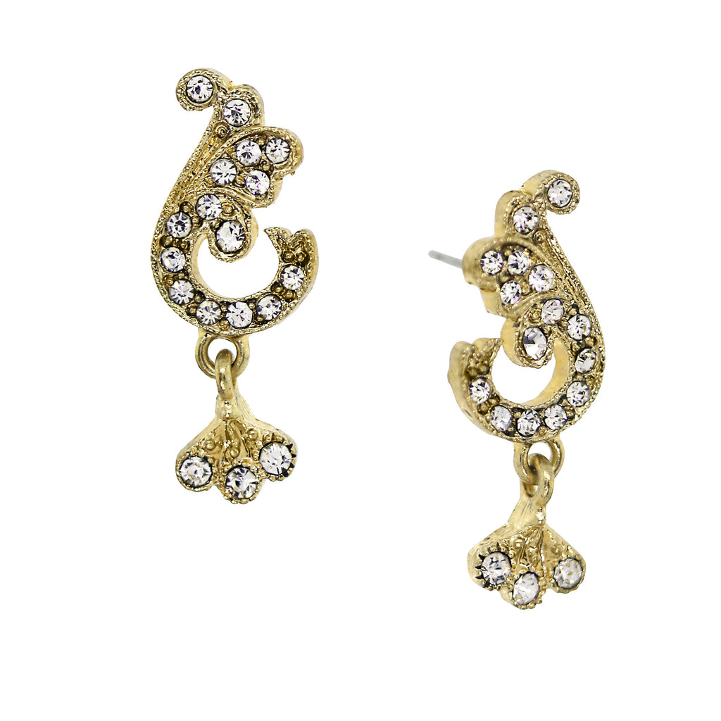 Downton Abbey Gold Tone Crystal French Scroll Earrings-17606 - Blanche's Place