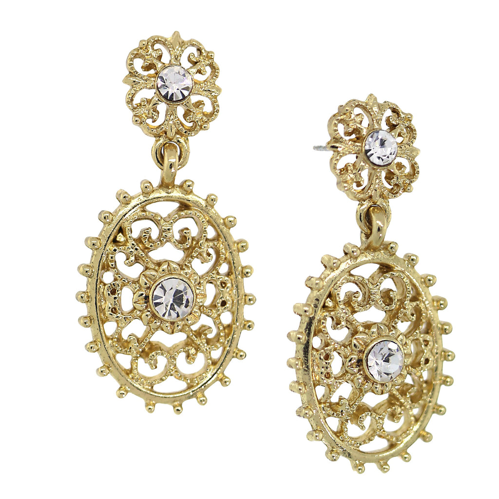 Downton Abbey Inspired Gold Tone and Crystal Filigree Earrings-17608 - Blanche's Place
