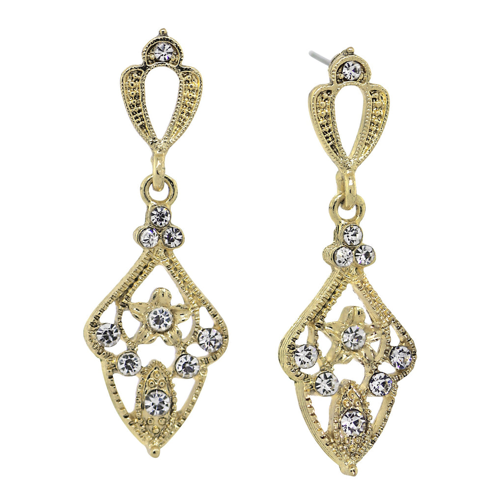 Downton Abbey Edwardian Inspired Gold Filigree Crystal Accents Earrings-17609 - Blanche's Place