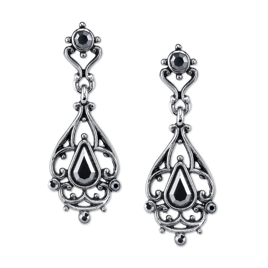 Vintage Inspired Downton Abbey Silver Hematite Earrings-17668 - Blanche's Place