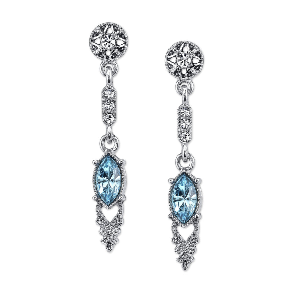 Downton Abbey Edwardian Inspired Silver Drop Earrings with Blue Stone-17671 - Blanche's Place