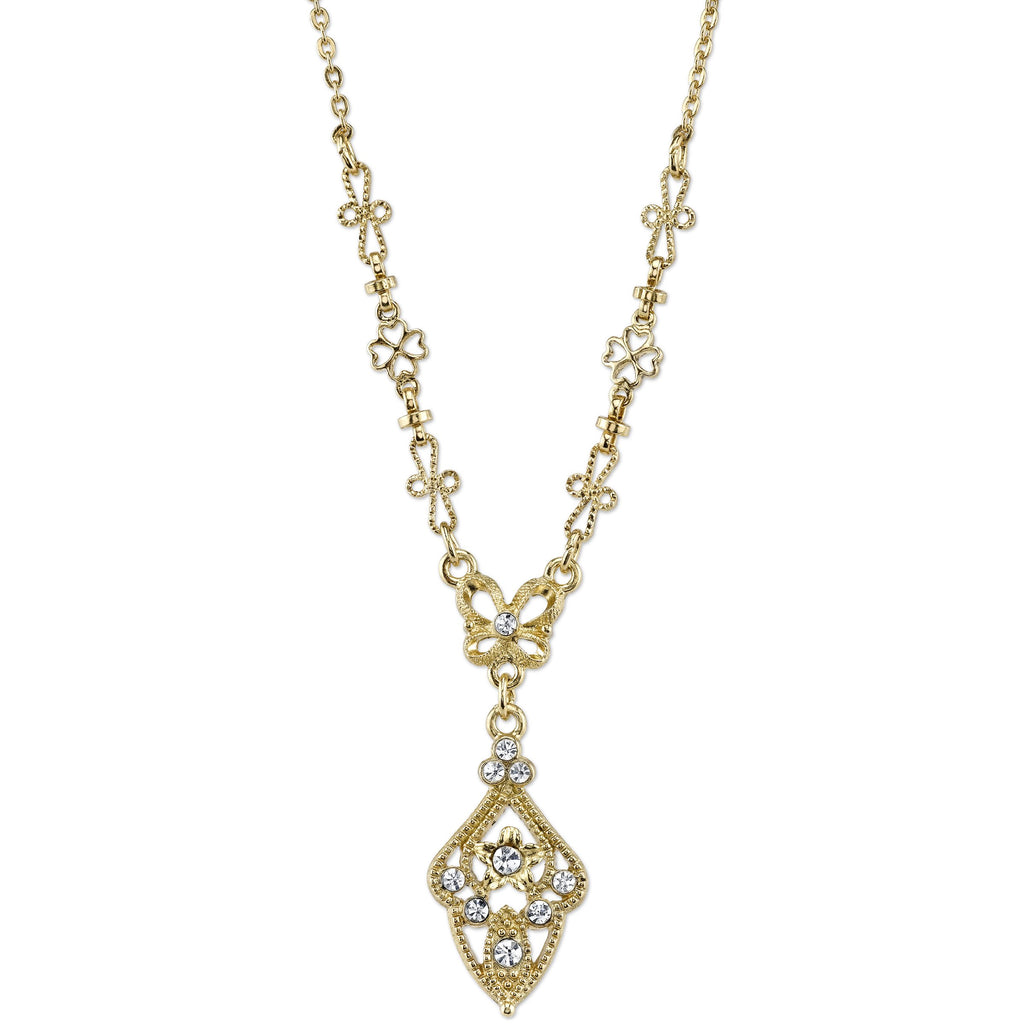 Downton Abbey Gold Tone and Crystal Vintage Inspired Necklace-17672 - Blanche's Place