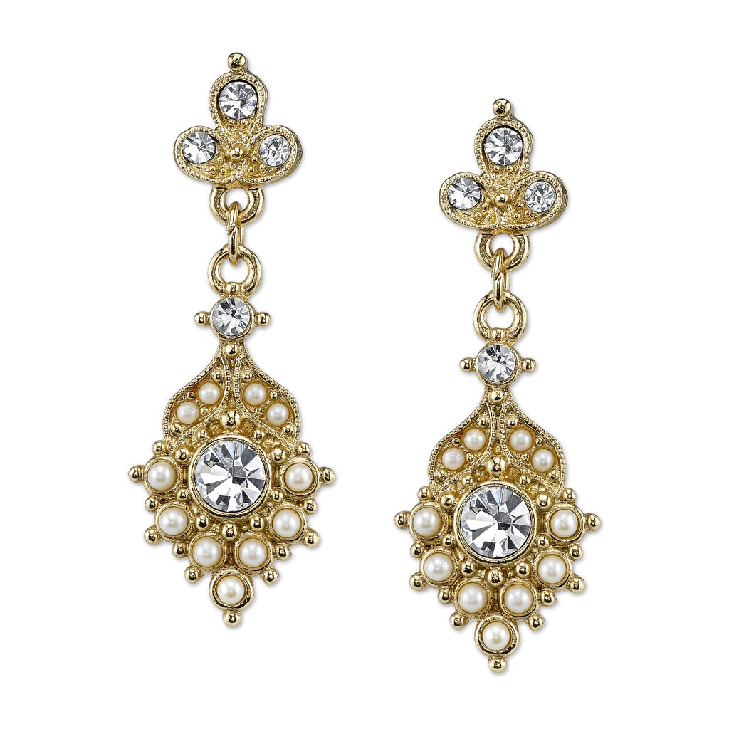 Vintage Inspired Gold Tone Pearl and Crystal Drop Earrings-17673