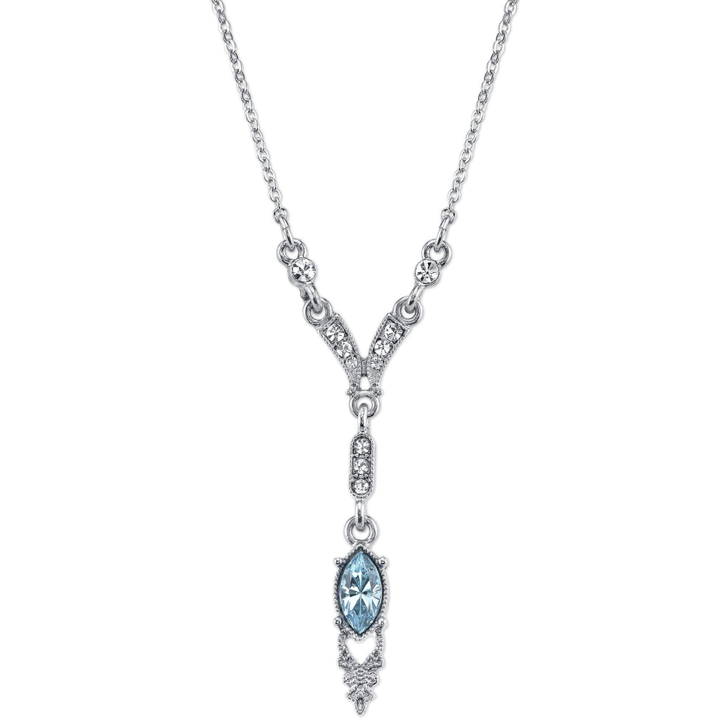 Downton Abbey Inspired Edwardian Necklace with Aquamarine Center Stone-17675 - Blanche's Place