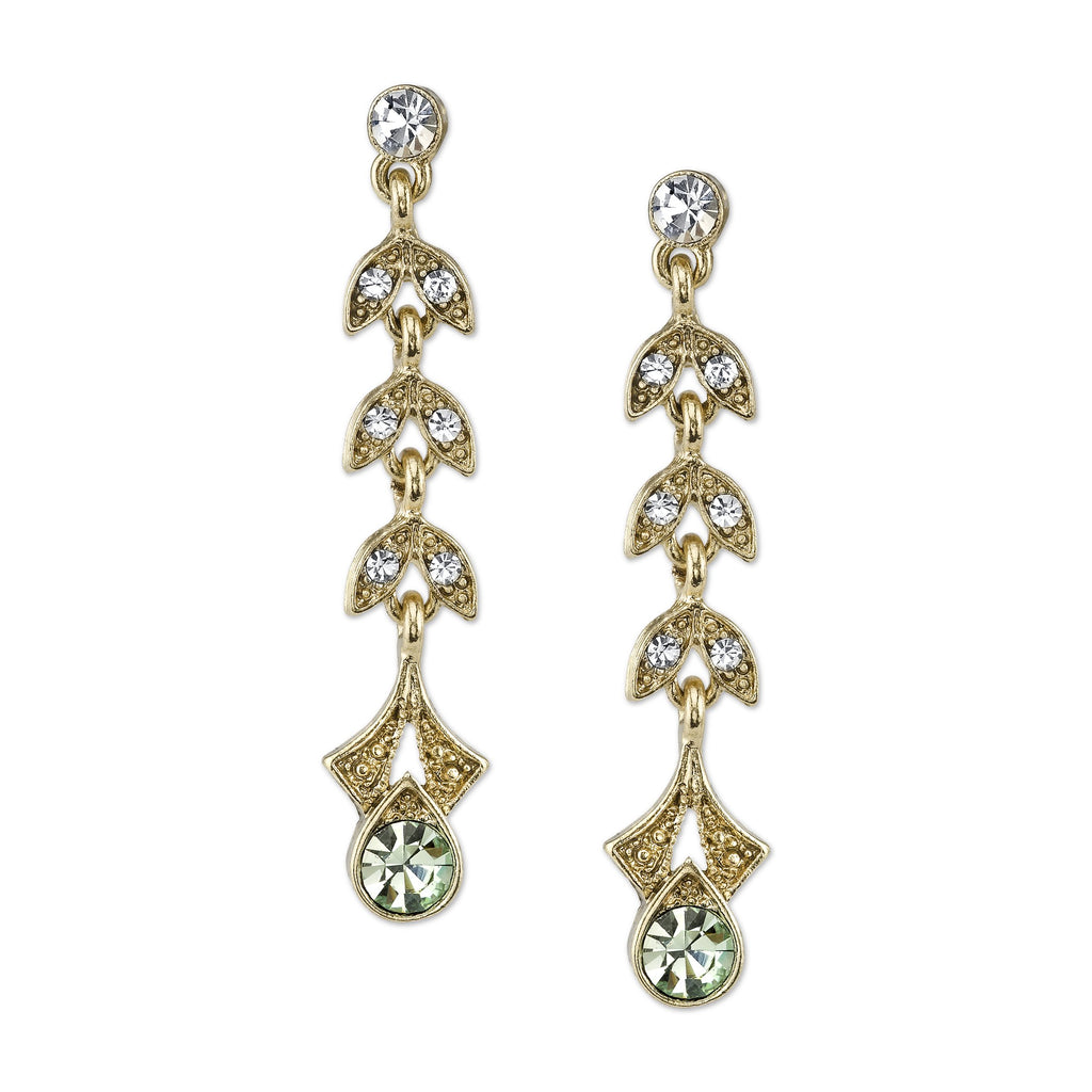 Vintage Inspired Gold Tone and Green Crystal Earrings Downton Abbey Collection-17677 - Blanche's Place