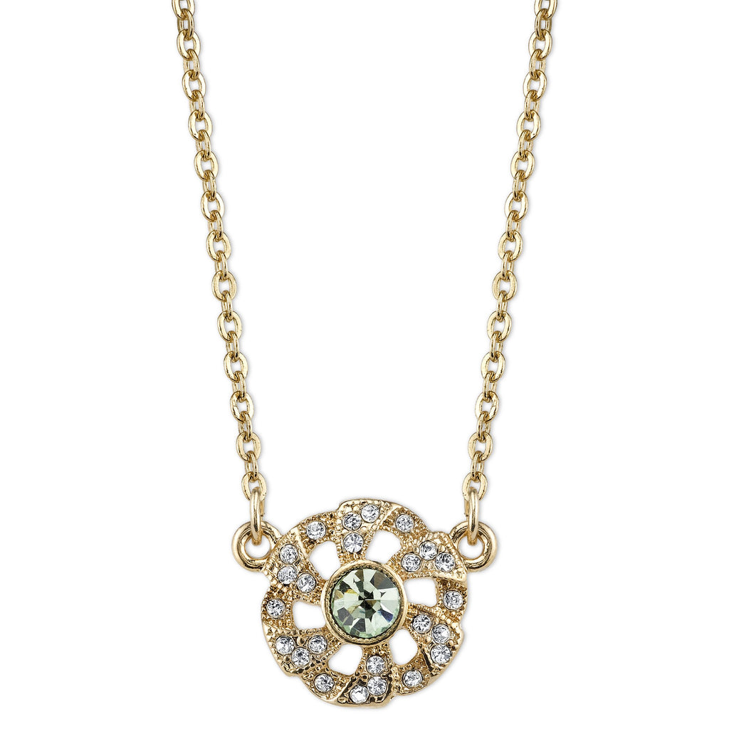 Downton Abbey Vintage Inspired Gold Tone Necklace with Light Green Stone-17718 - Blanche's Place