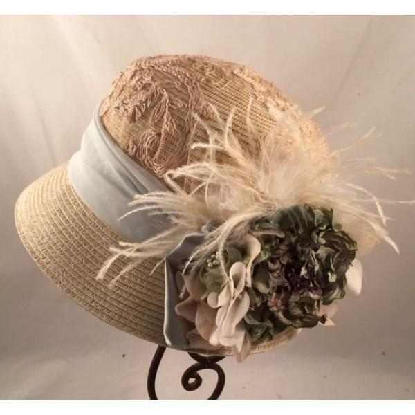 1920's Beige Straw Cloche Hat With Seafoam Accents-8644 - Blanche's Place
